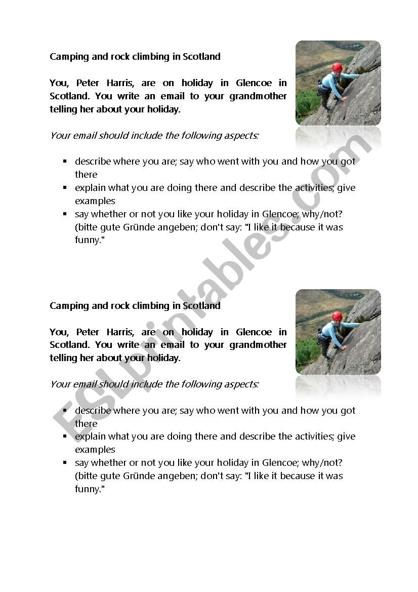writing task-rock climbing in Scotland - ESL worksheet by ESL SK