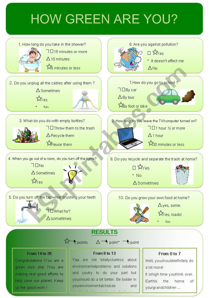 How green are you ? worksheet