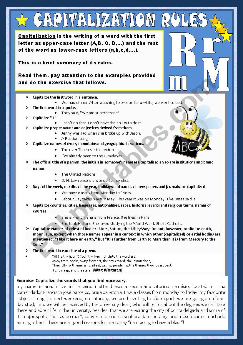 capitalization rules worksheet