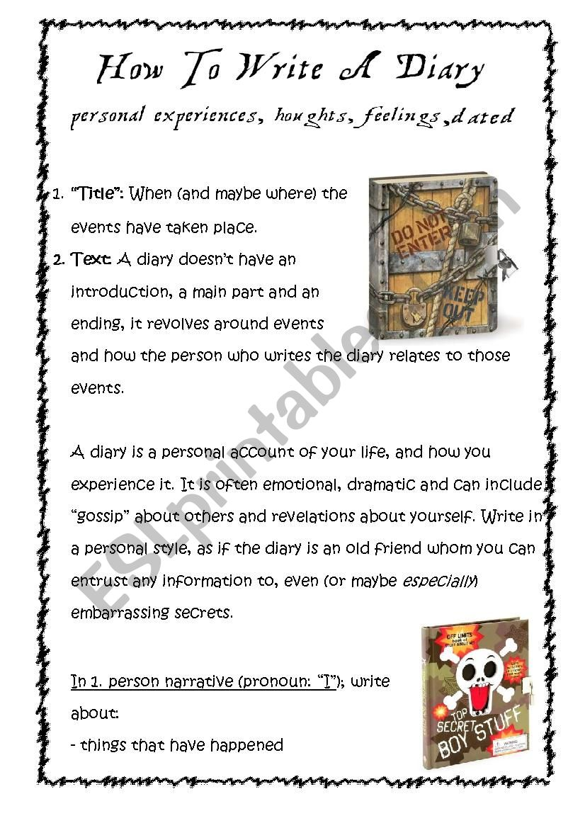How to write a diary worksheet