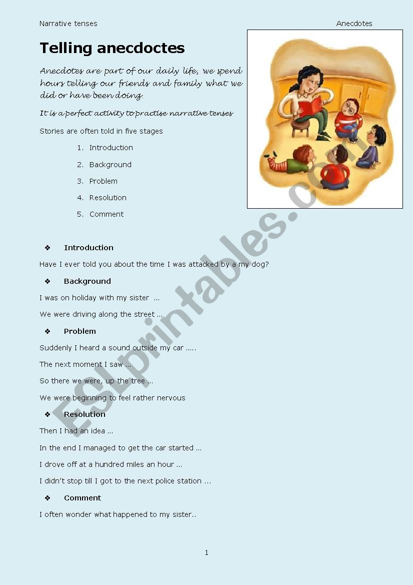 Telling anecdotes worksheet