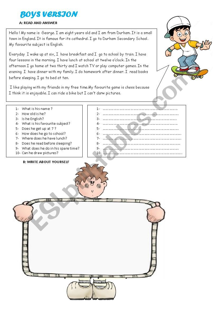 Reading Comprehension and Writing Activity for Boys