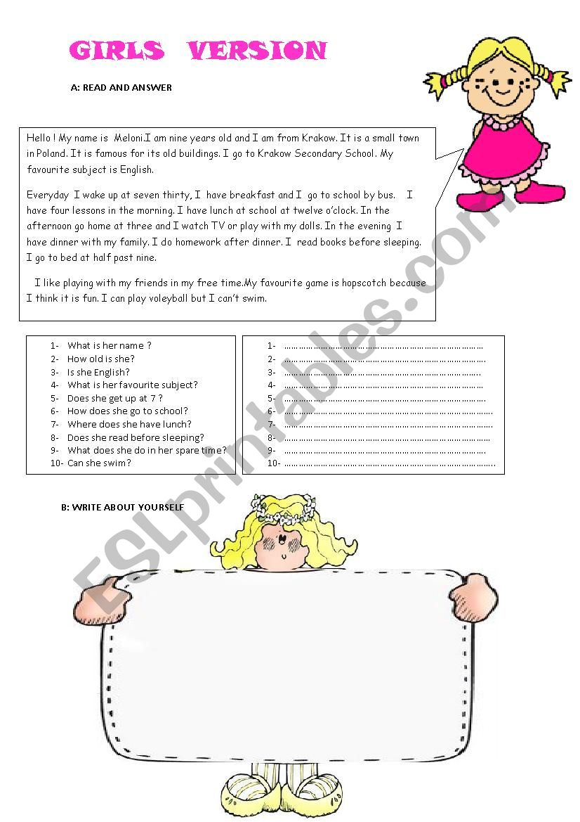 Reading Comprehension and Writing Activity for Girls