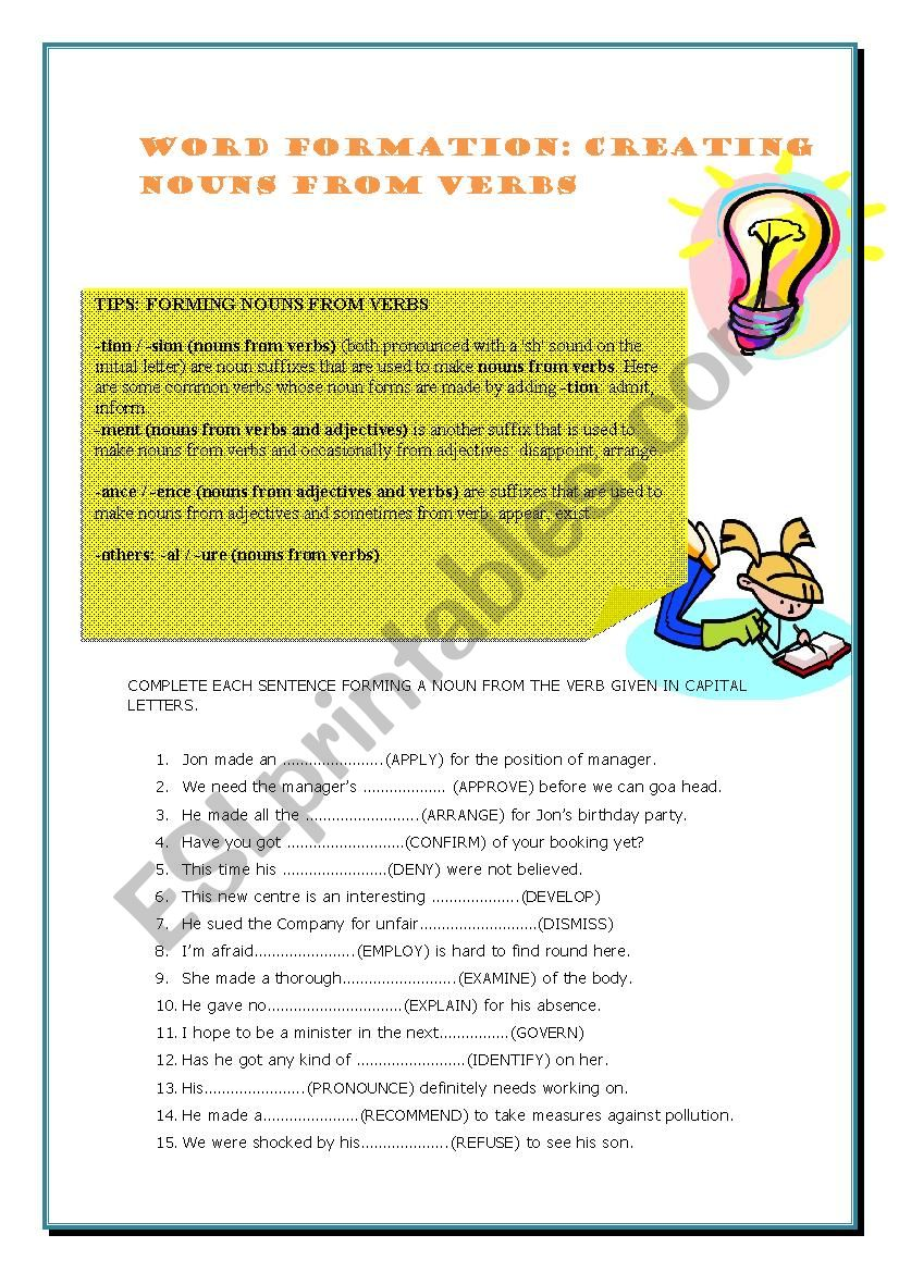 WORD FORMATION NOUNS FROM VERBS - ESL worksheet by Marianzz