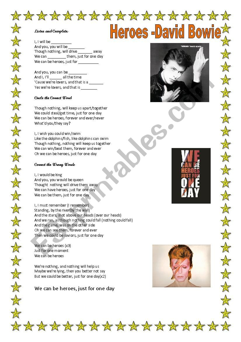 ***Heroes- David Bowie*** worksheet