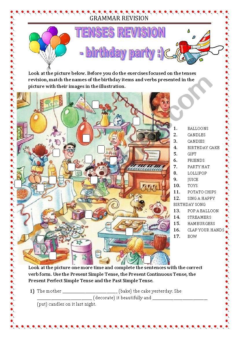 GRAMMAR REVISION - tense miscellaneous - birthday party