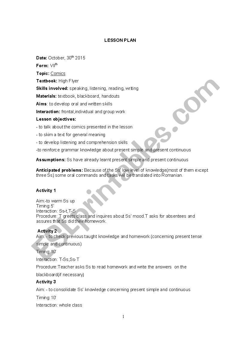 Comics - ESL worksheet by Ddddaaanna