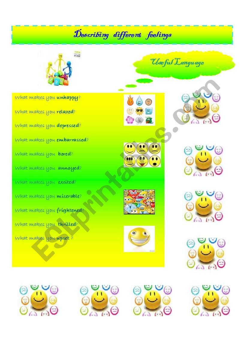 Describing Feelings Esl Worksheet By Viggia F