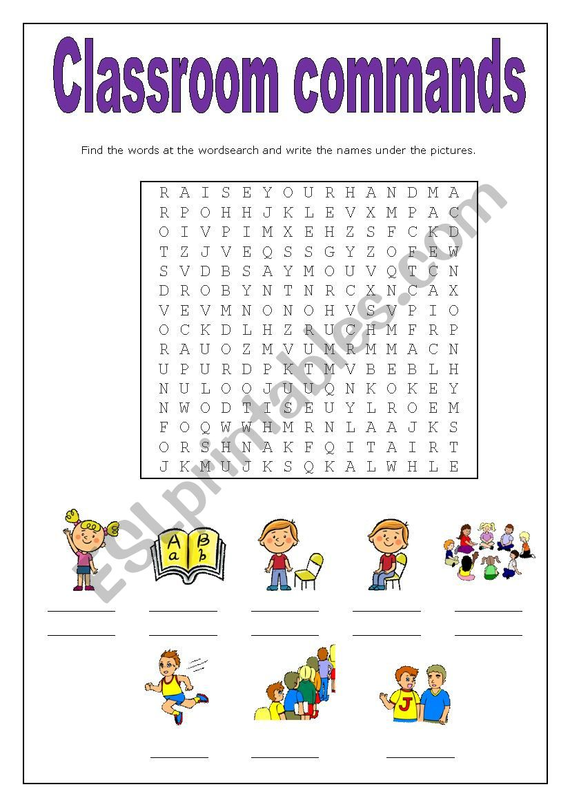 Classroom commands worksheet