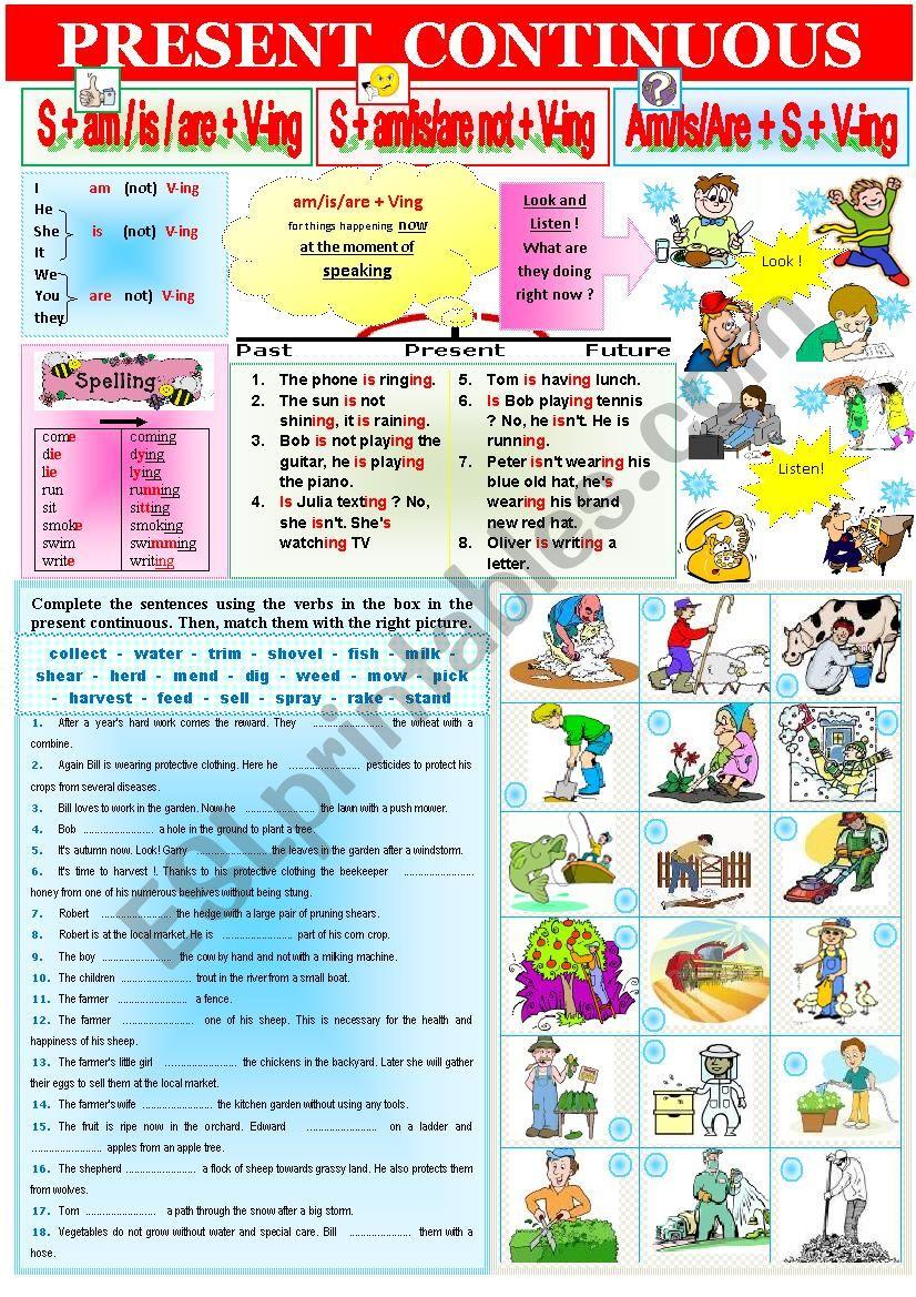 Grammar Rules PRESENT CONTINUOUS 3 + extra exercises