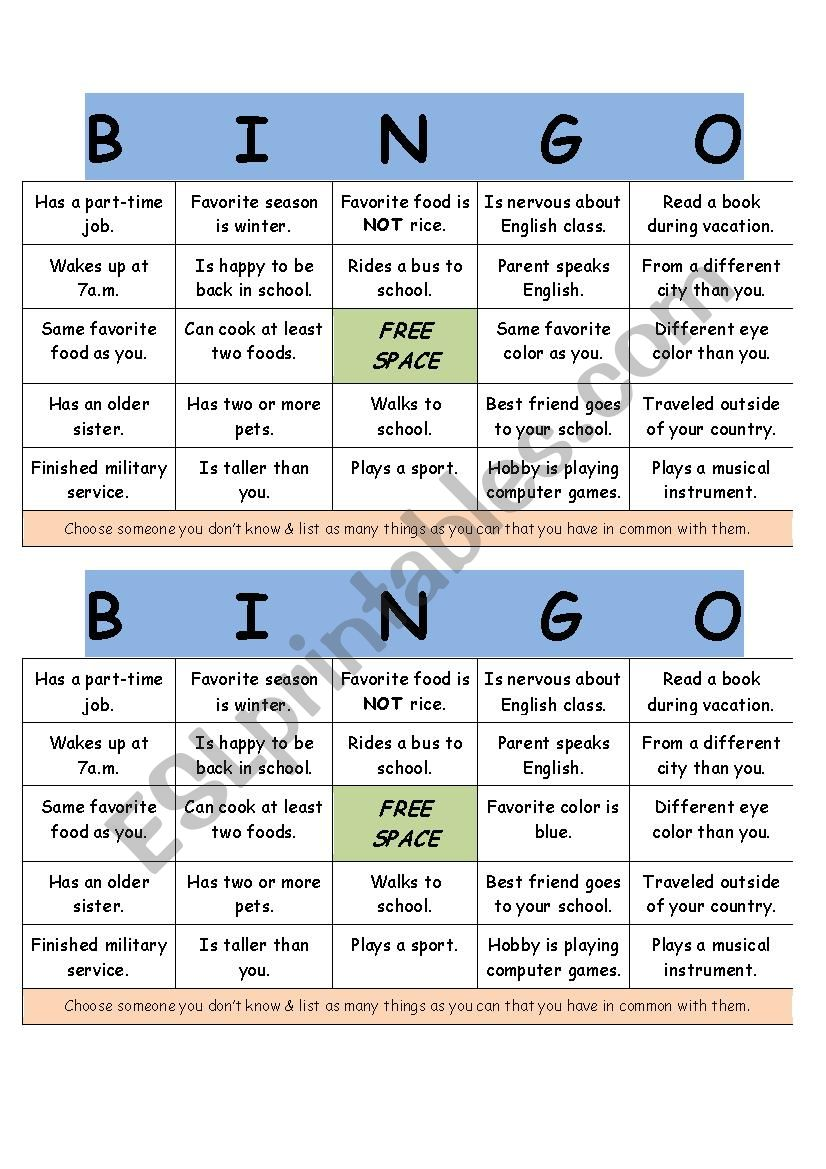 Get To Know You Bingo Esl Worksheet By Mark3475