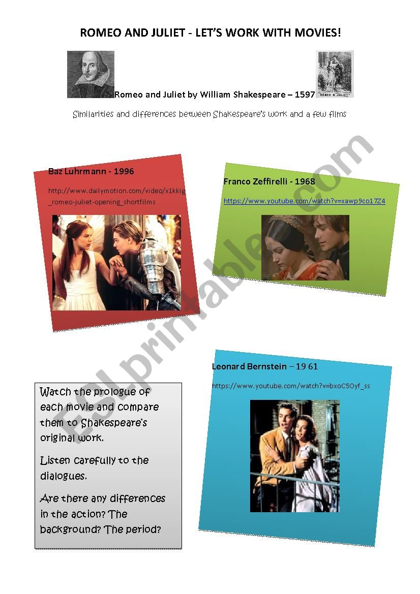 Romeo and Juliet - Movies worksheet