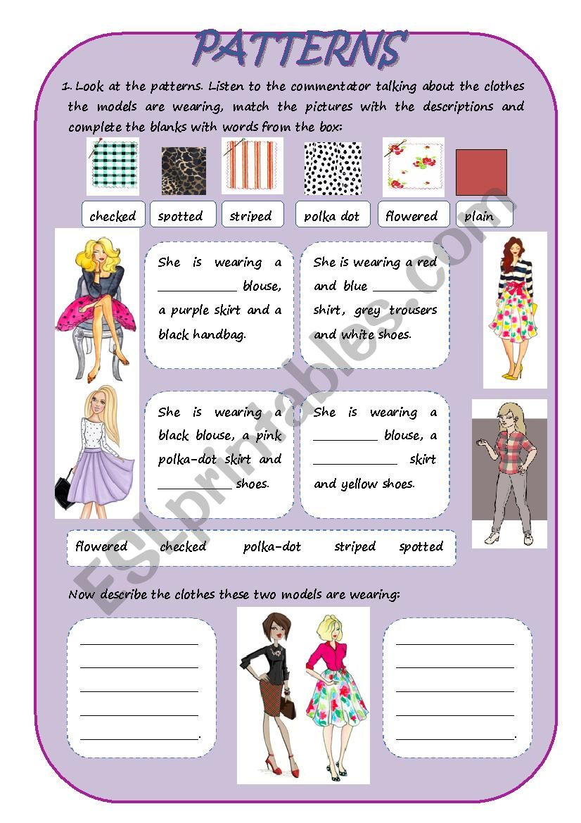 Patterns And Clothes Esl Worksheet By Tutu4