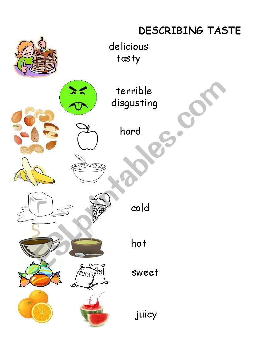 Flavor and Texture of Food Picture Dictionary - ESL worksheet by DLMCPS