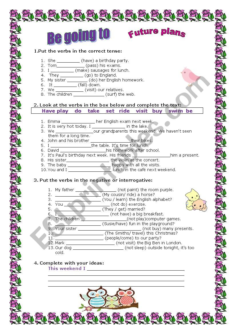 Be Going To Exercises Esl Worksheet By Marta Veiga