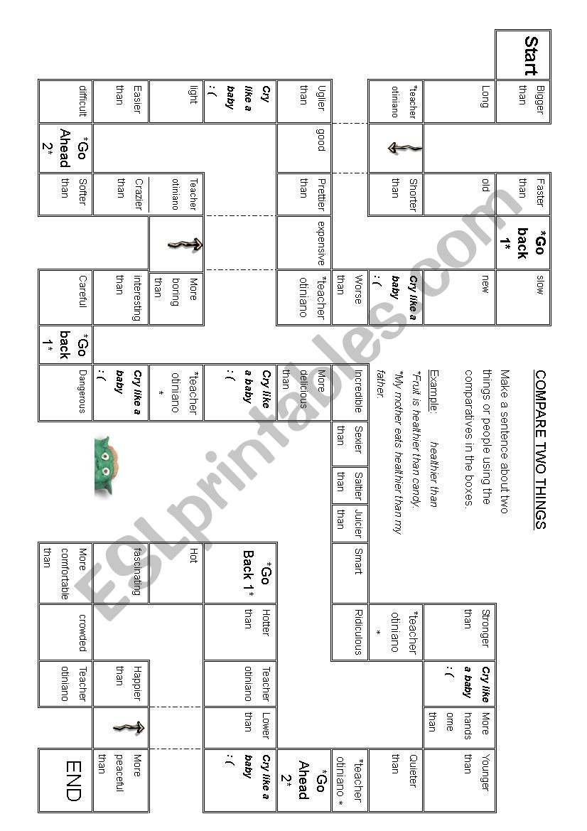 Comparative board game  worksheet