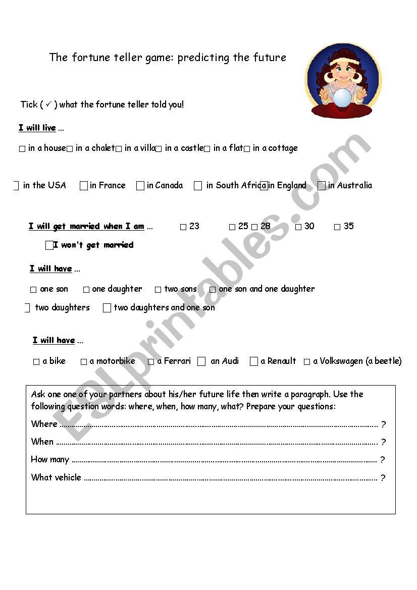 Fortune teller game worksheet - ESL worksheet by frotea