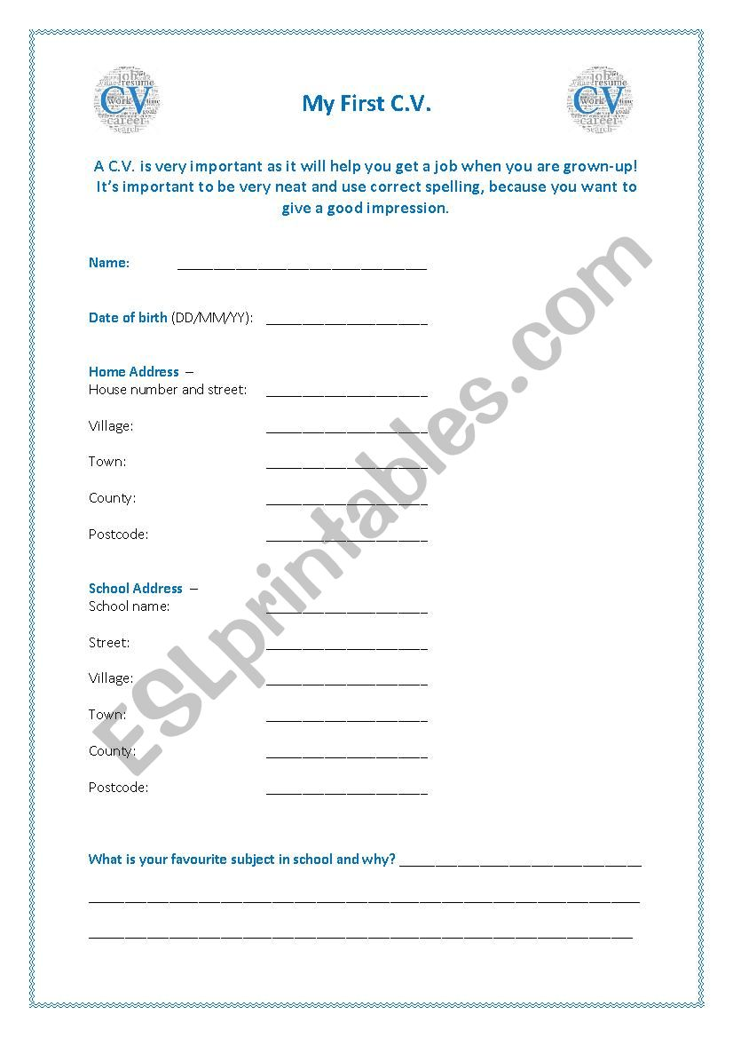 My First Cv Esl Worksheet By Thedinnerwitch
