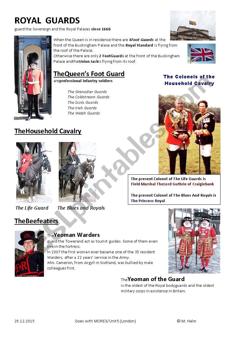 The Royal Guards worksheet