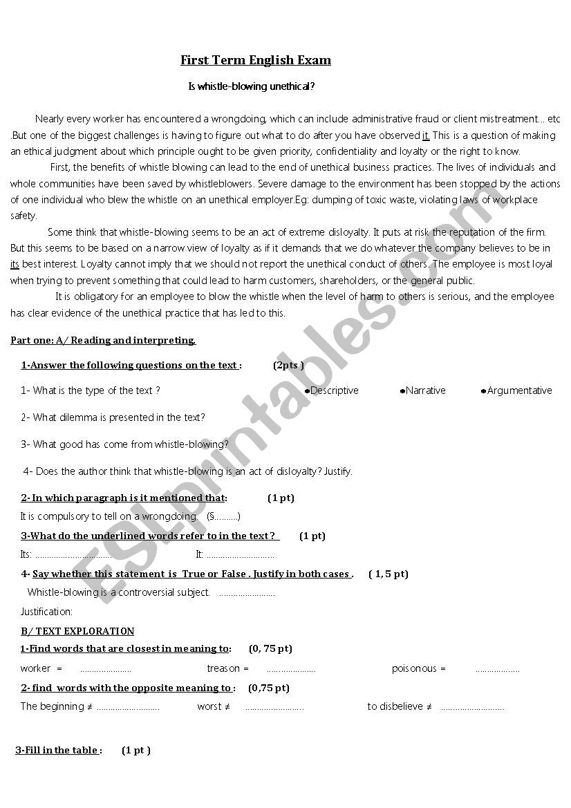 exam3rd year worksheet