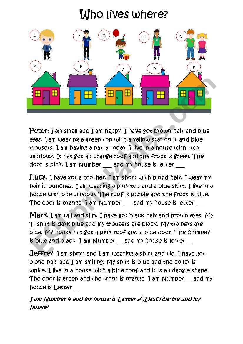 Who lives in which house? worksheet