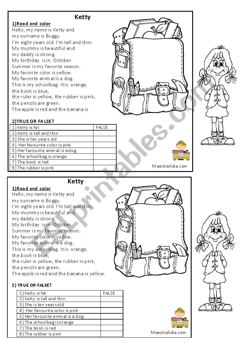reading for first readers worksheet
