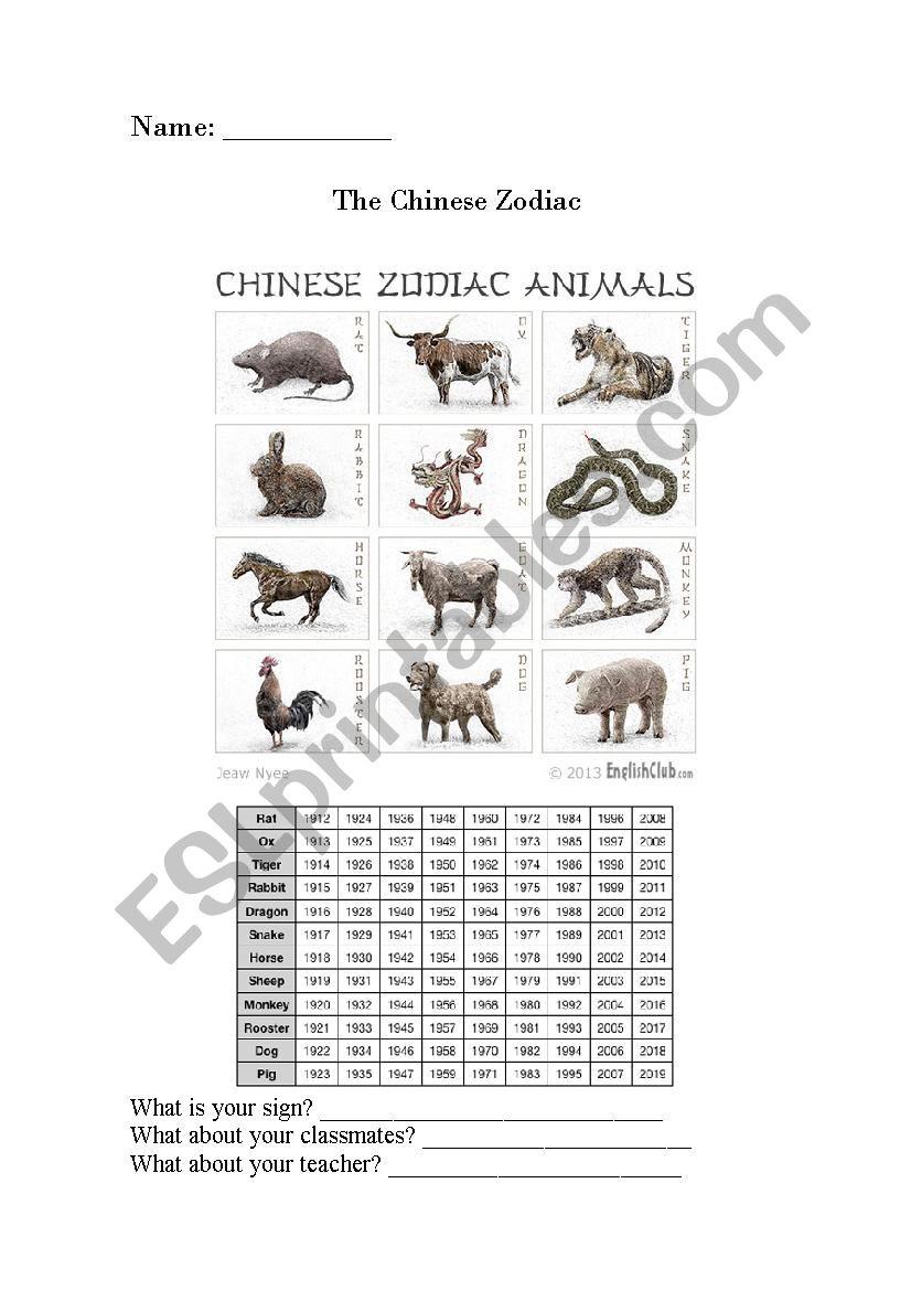 the chinese zodiac worksheet