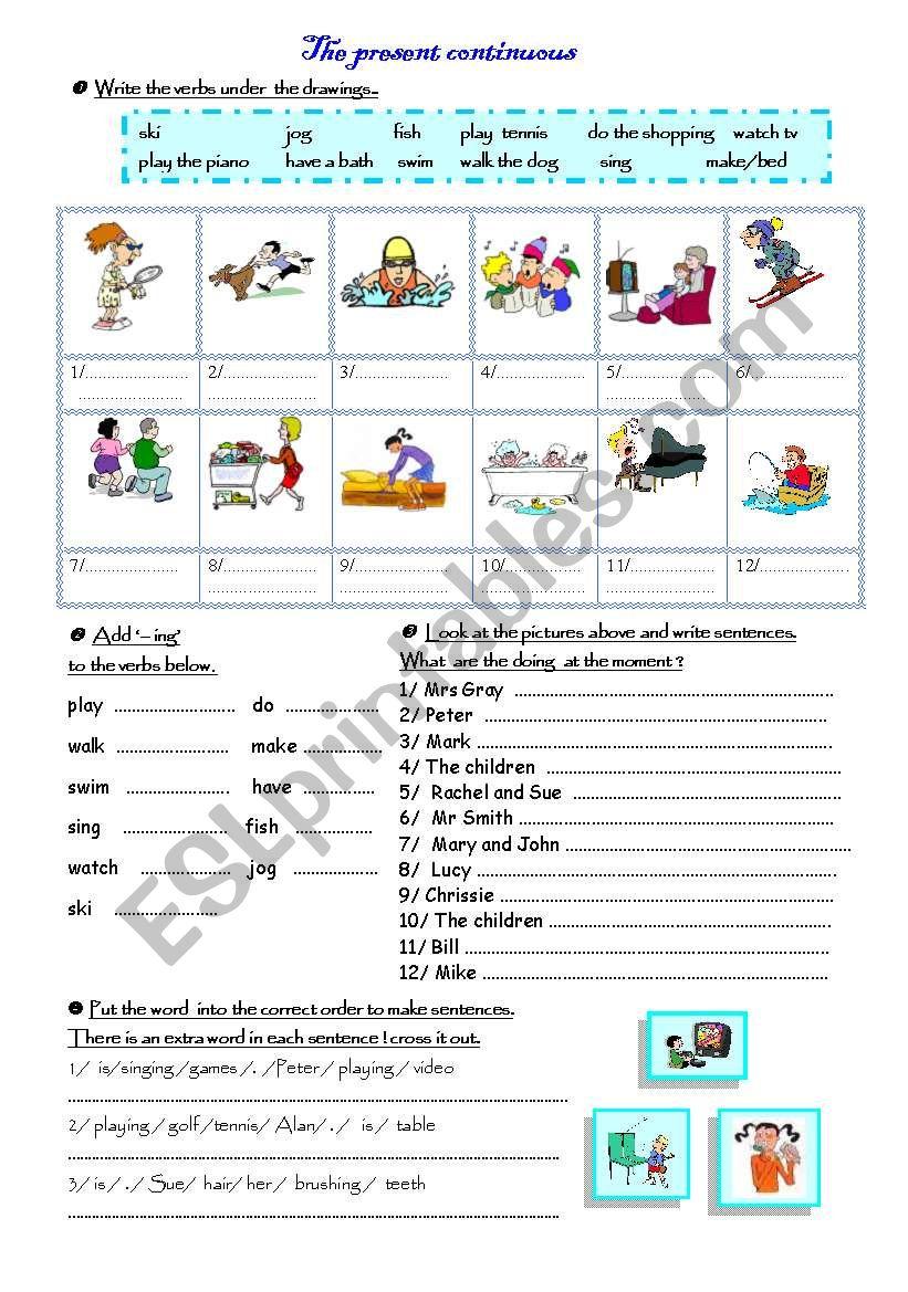 Presnt continuous worksheet
