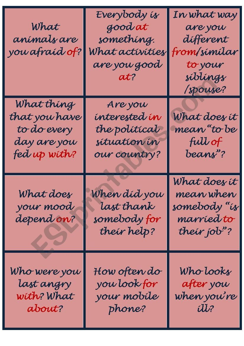 Prepositions - conversation cards