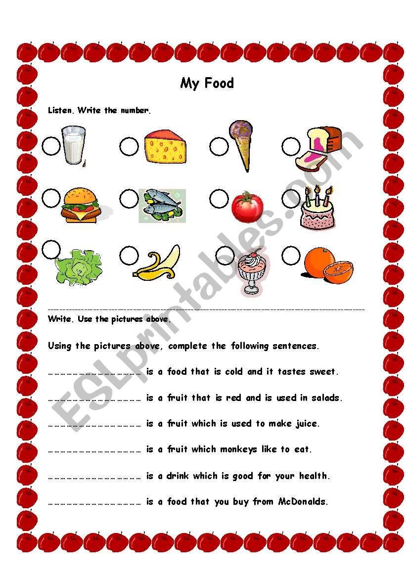 My Food Quiz worksheet