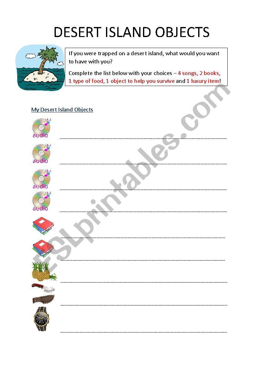 Desert Island Objects worksheet