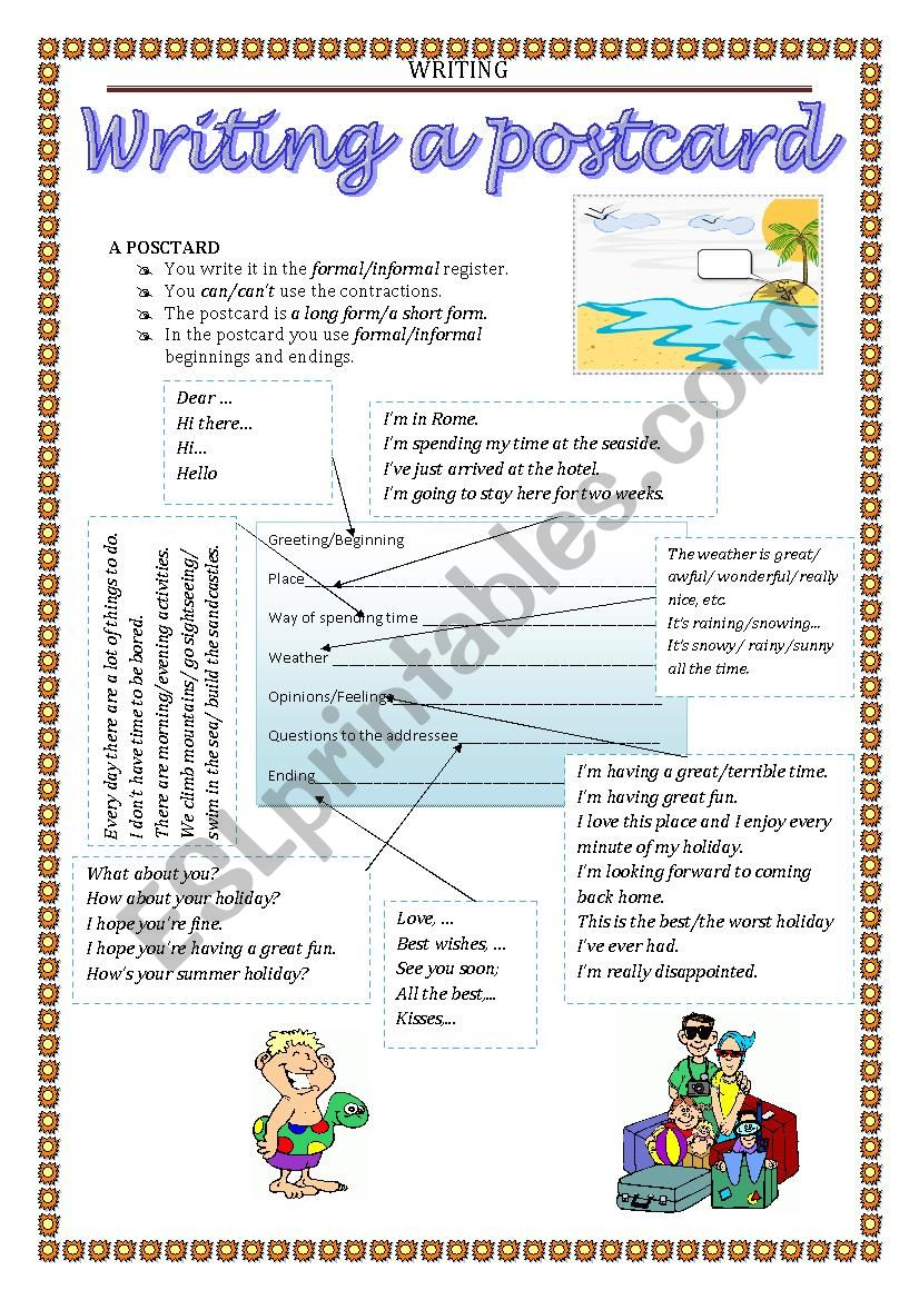 WRITING - postcard worksheet