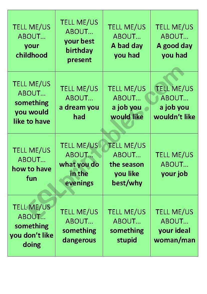 Tell me about ... worksheet