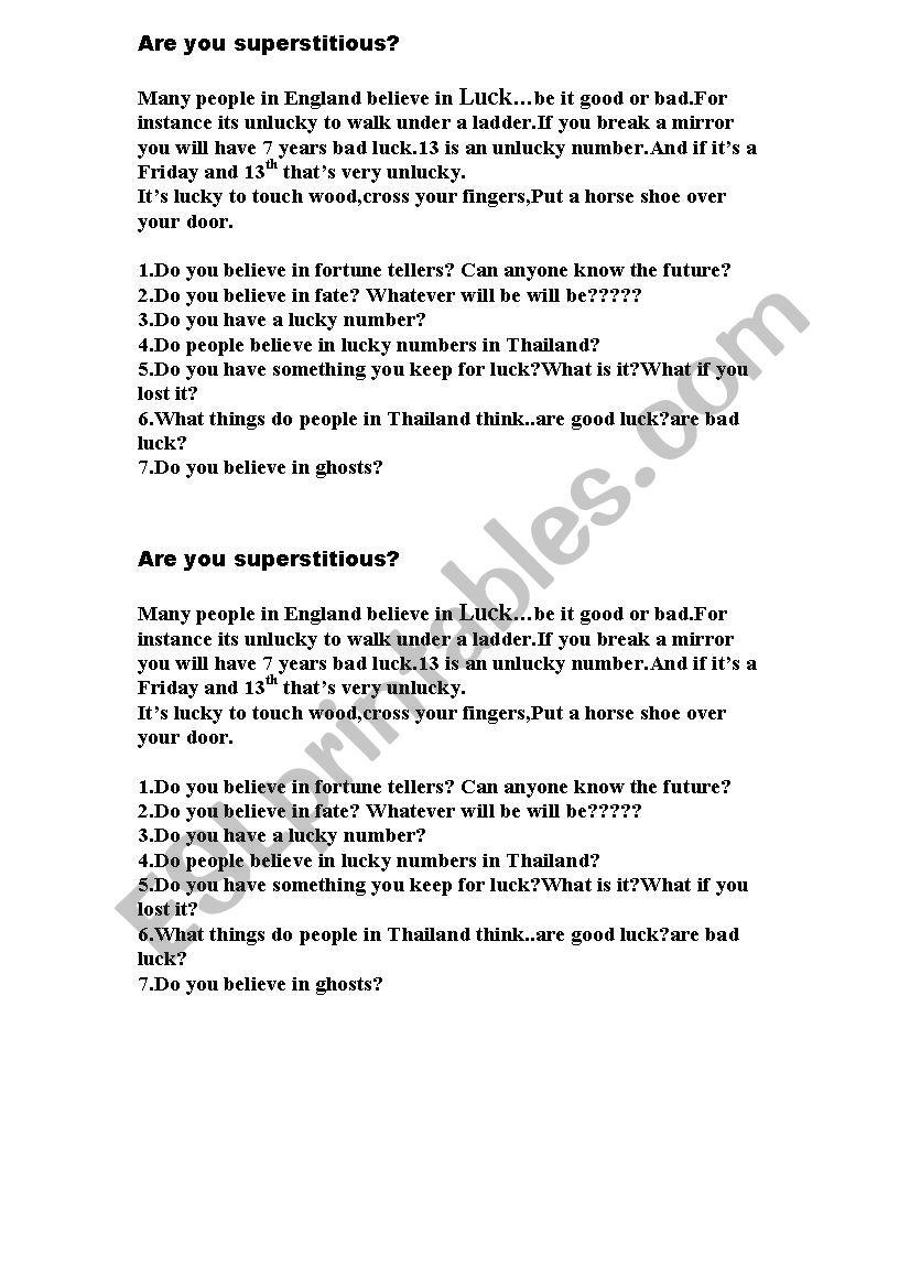 Superstition conversation worksheet
