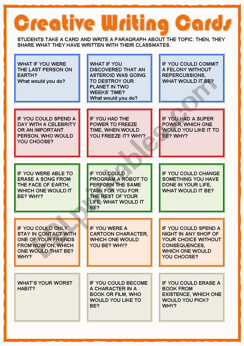 Creative Writing Cards worksheet