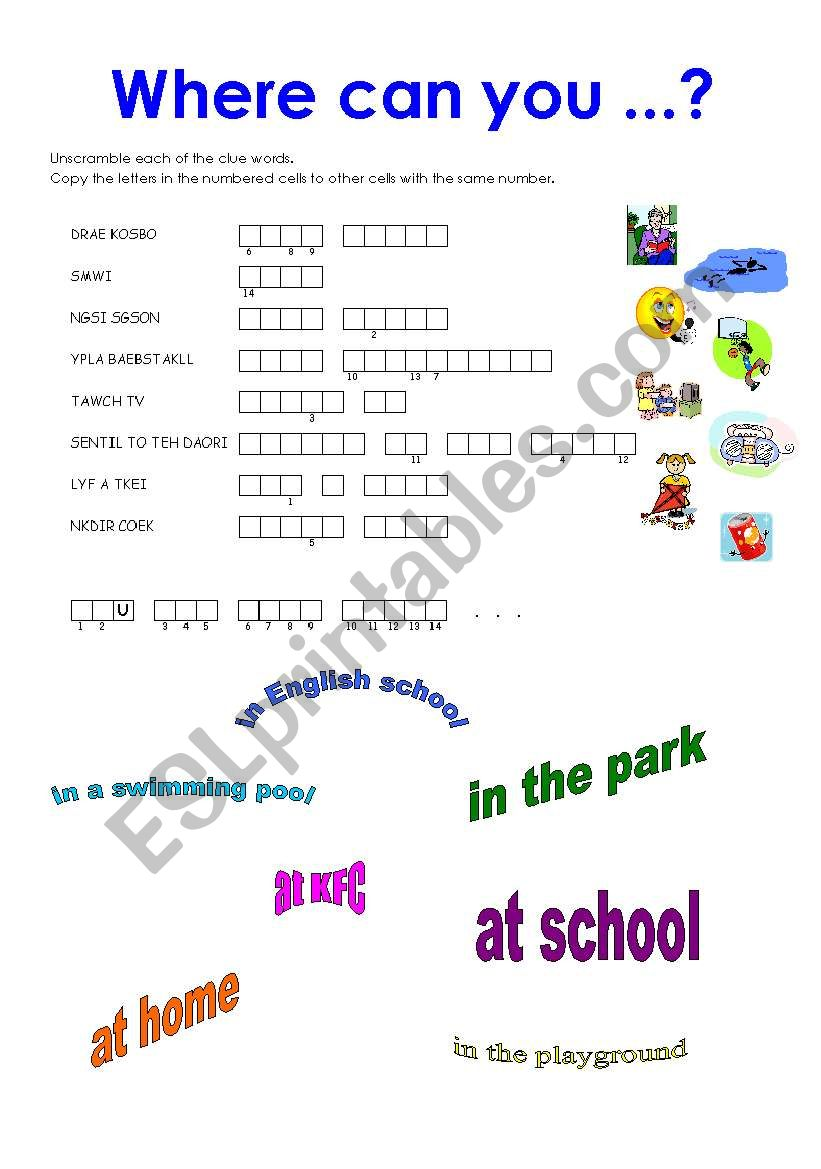Where can you read books? worksheet