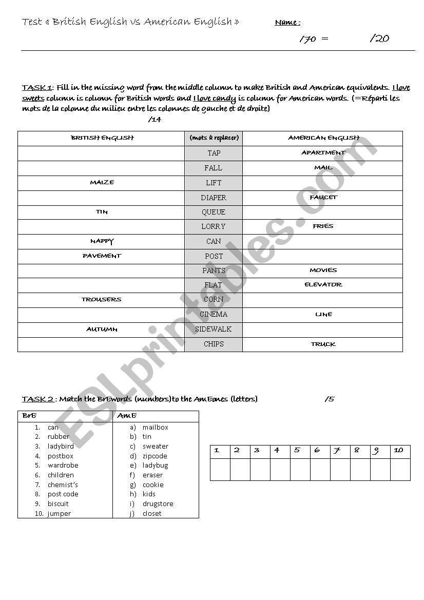 TEST - British English vs American English (vocab & spelling) - ESL