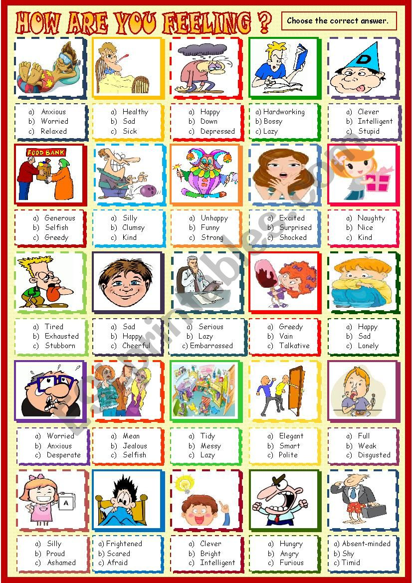 How are you feeling? worksheet