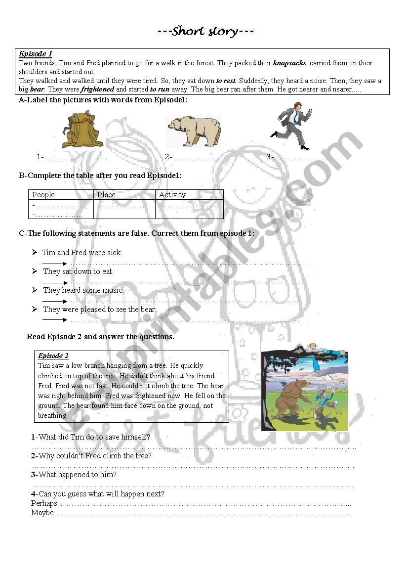 Short story about friendship worksheet
