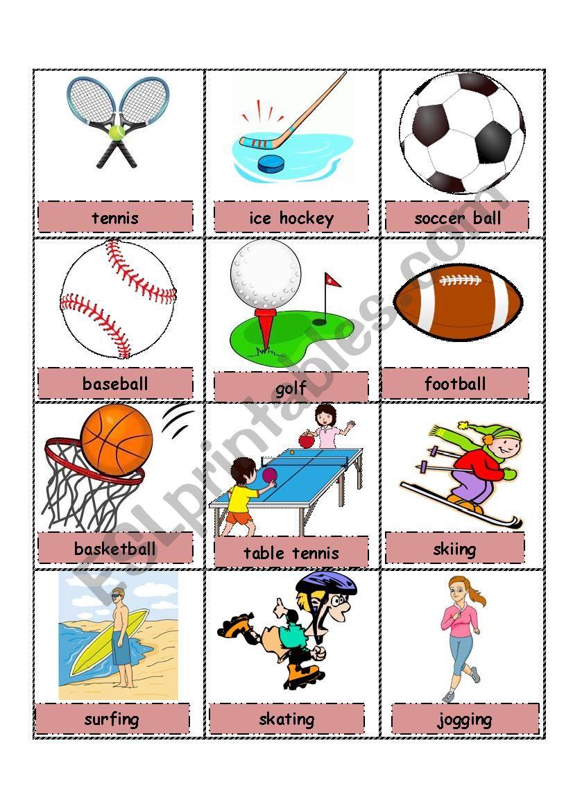 Sport pictionary worksheet