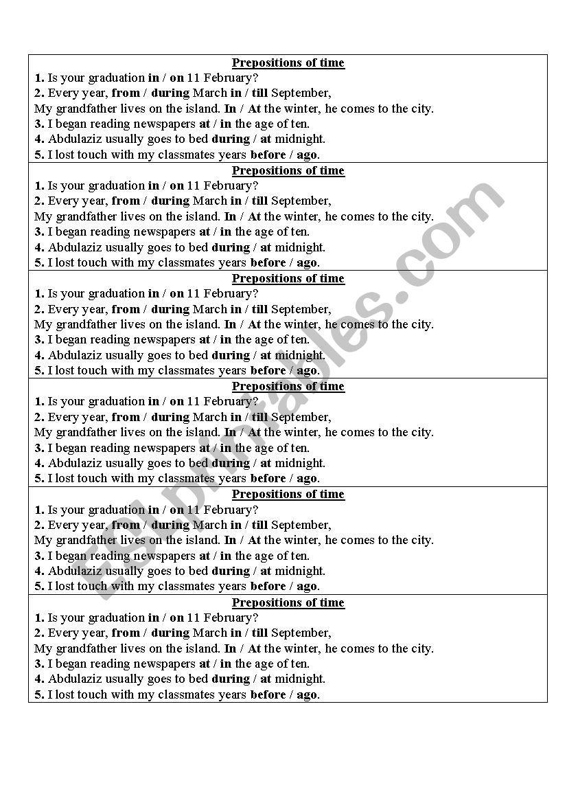 preposition of time worksheet