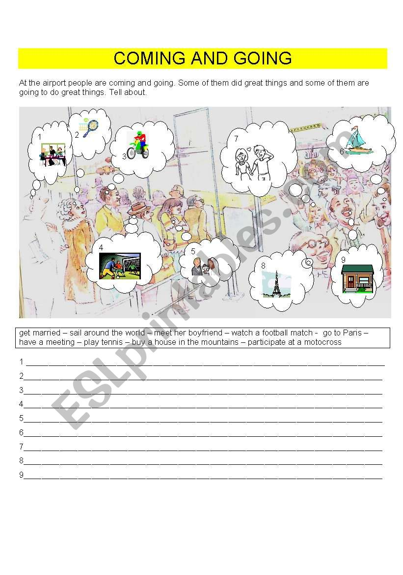 COMING AND GOING worksheet
