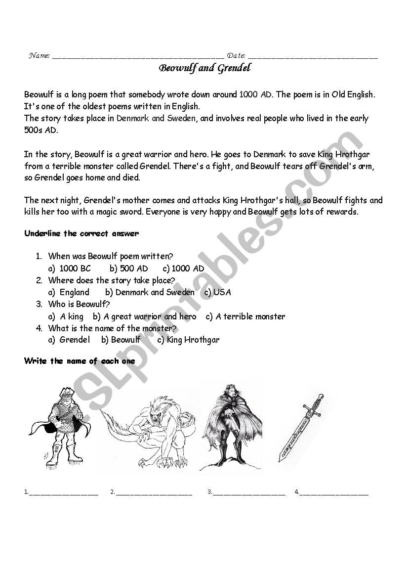 Beowulf And Grendel Esl Worksheet By Missfany