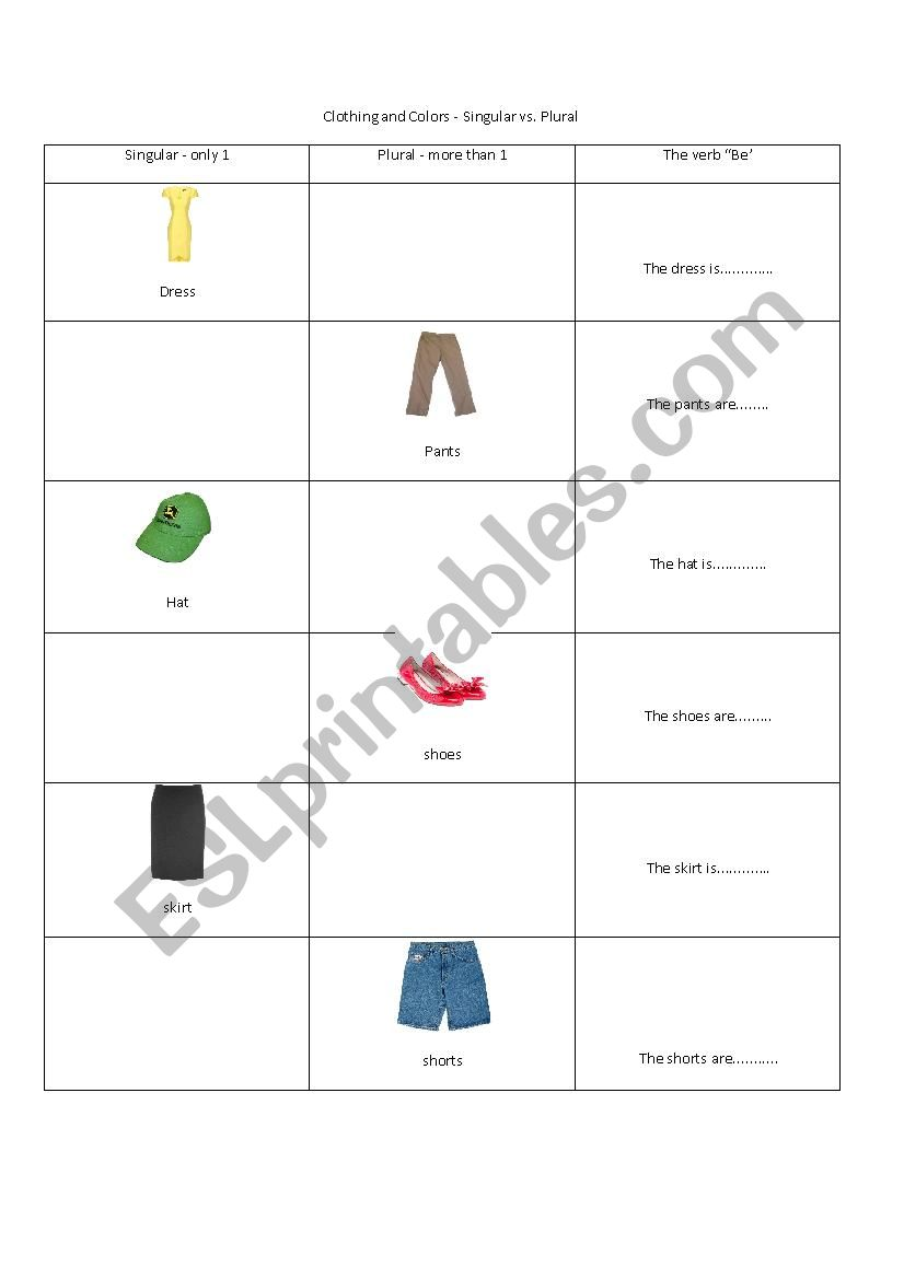 Clothing And Colors Singular Vs Plural Esl Worksheet By Cotys
