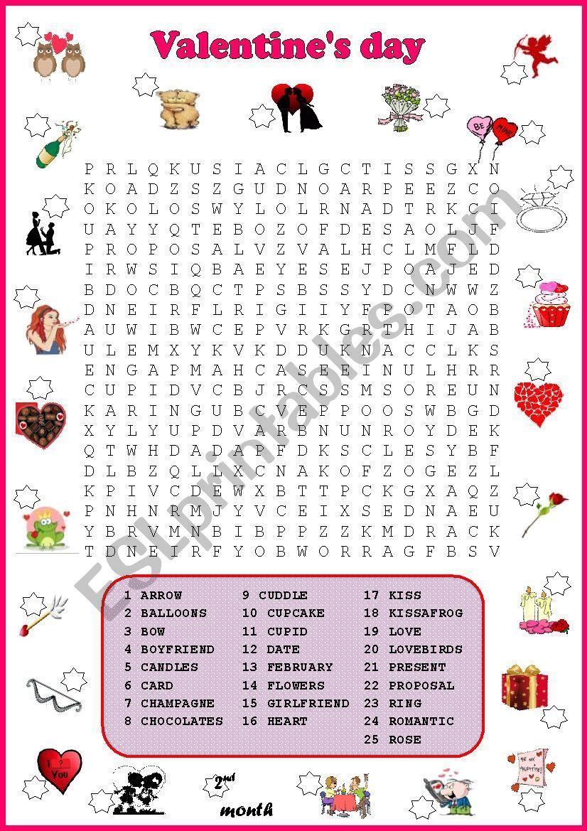 Valentine´s Day Quiz No.2   Wordsearch
