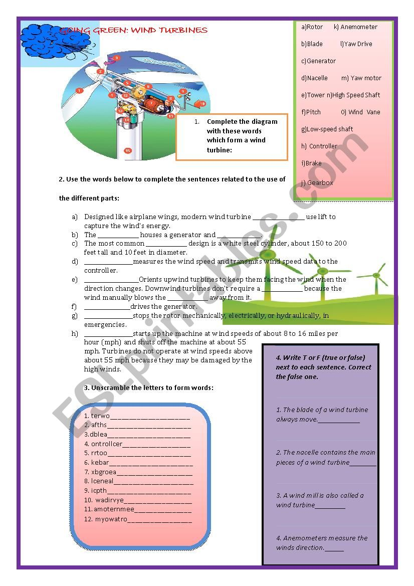 Going Green: A Wind Turbine worksheet