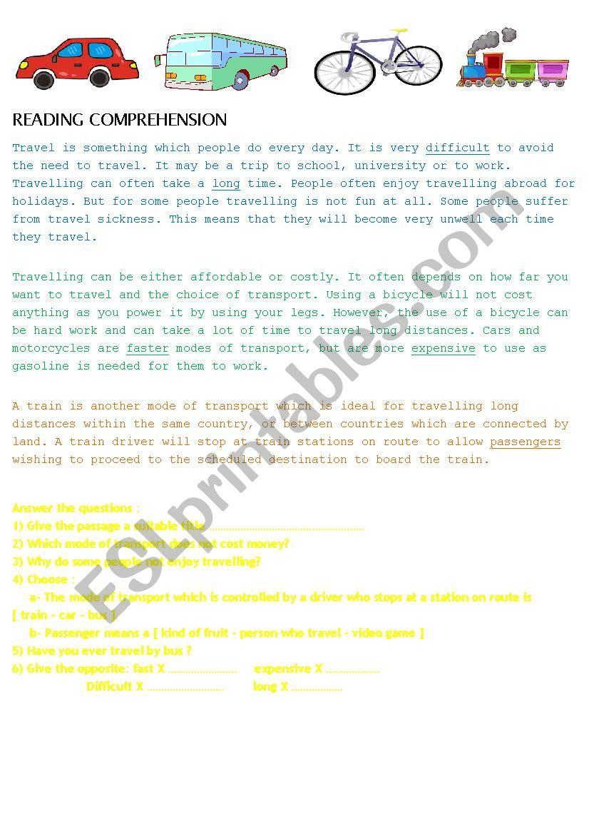 reading comprehension transportation esl worksheet by et afrah. Black Bedroom Furniture Sets. Home Design Ideas