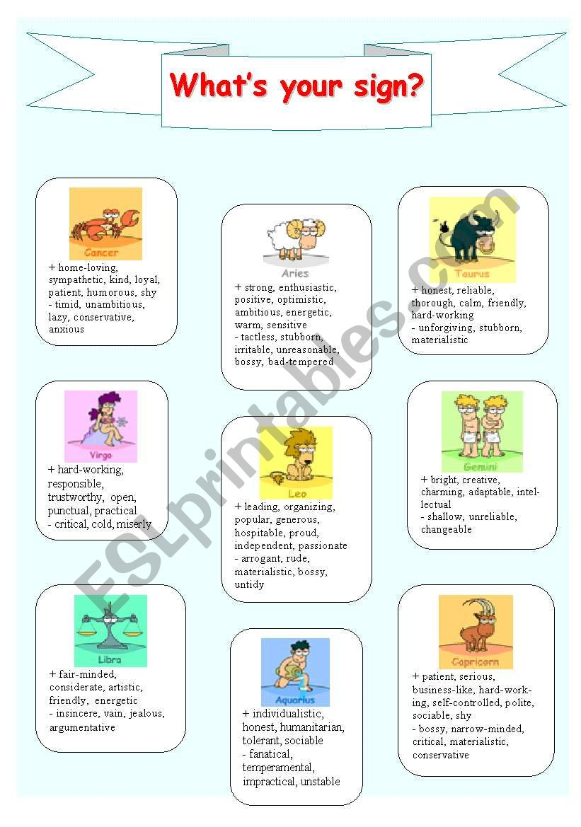 What´s your sign? worksheet