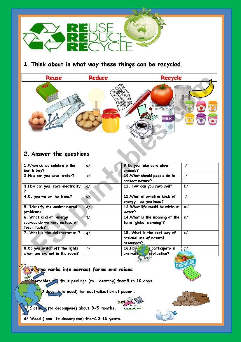 Reduce Reuse Recycle Esl Worksheet By Myemma