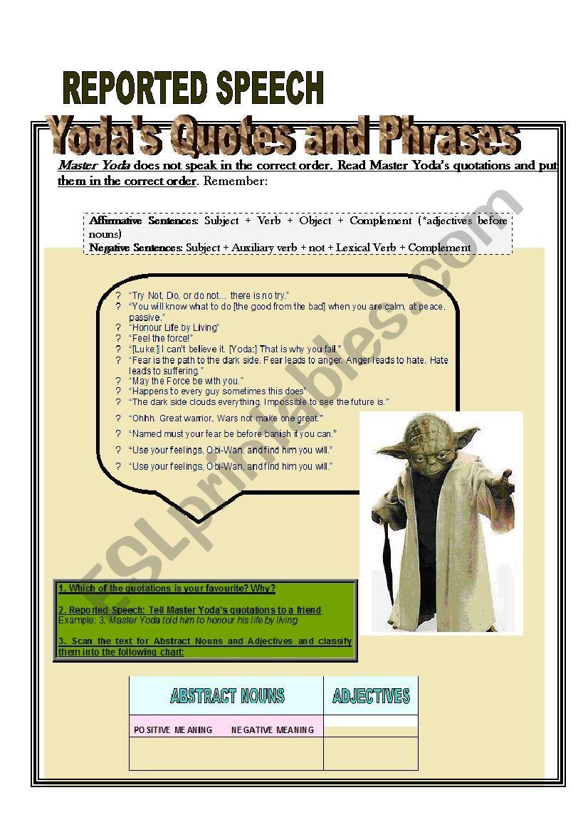 Yodas Quotations And Phrases Esl Worksheet By Natyeva